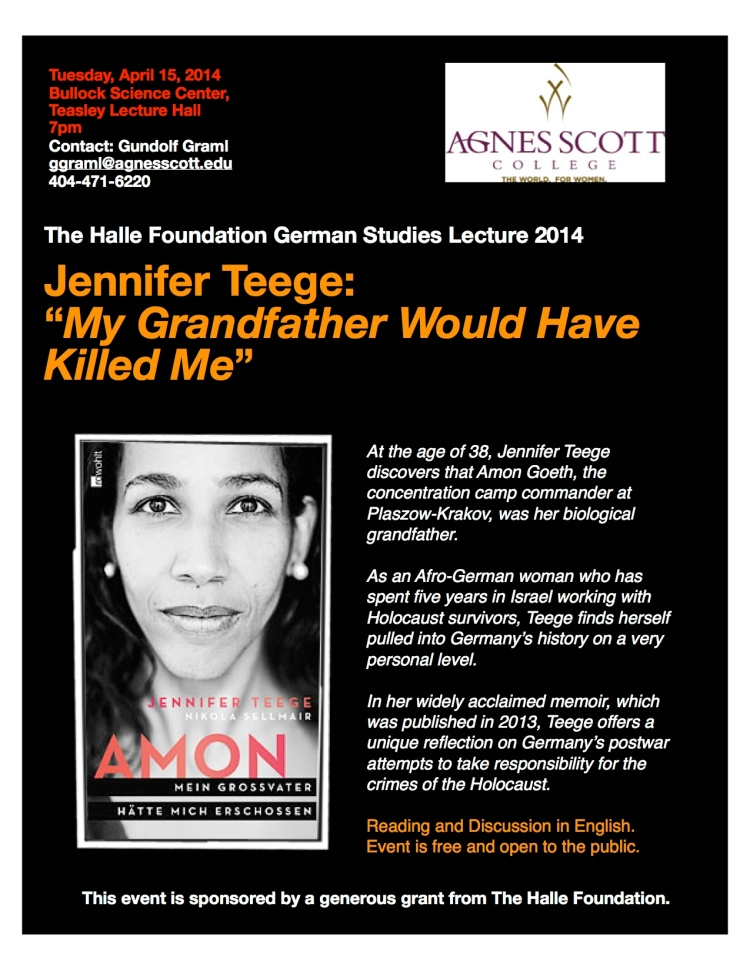 Jennifer Teege will visit ASC Tuesday, April 15, 2014.