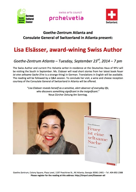 Tonight Only!! Swiss Author Lisa Elsässer at ATL German Cultural Institute