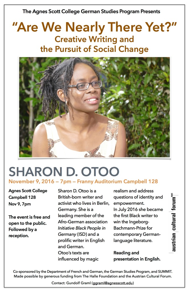 Sharon Otoo: Writer/Activist and Winner of 2016 Ingeborg Bachmann Prize for contemporary German-speaking literature