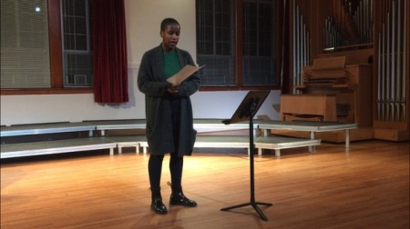 "Lyrik Courtney performs Barbara Köhler's elogy ""Ingeborg Bachmann stirbt in Rom"""